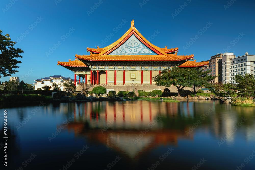 Fototapeta Peace/ Chiang Kai Shek Memorial Hall and pond at dawn  , Taipei, Taiwan