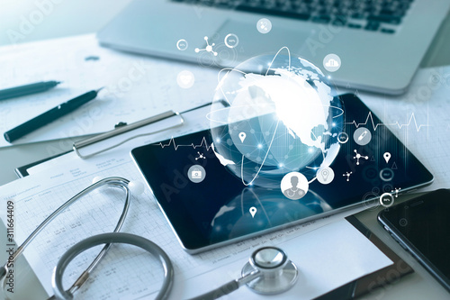 Cuadros en Lienzo Medical global networking and healthcare global network connection on tablet, Medical technology