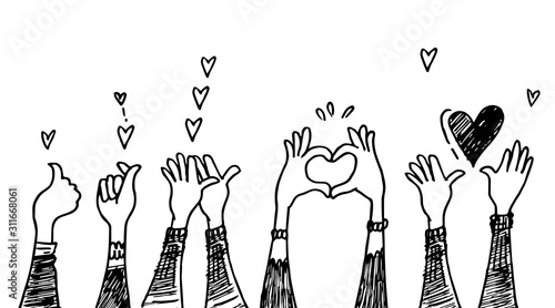 doodle hands up,Hands clapping with love Wallpaper Mural