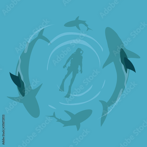 Shark and scuba diver on top view cartoon vector illustration Wallpaper Mural