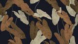 Foliage seamless pattern, brown Philodendron burle marx plant on dark blue - 311674696