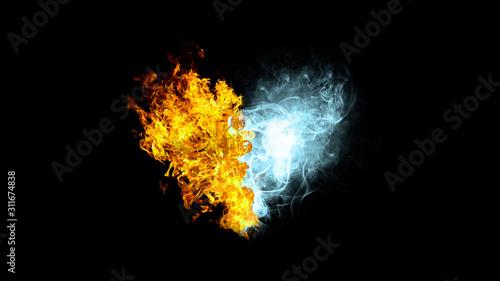 炎と煙が合体したハートの形 Billede på lærred