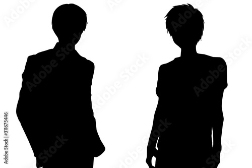 二人の男性のシルエット(スーツと私服) Canvas Print