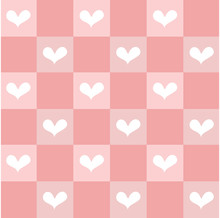 Seamless Hand Drawn Sweetest Heart White Color On Pink Grid Pattern Bankground.Desing For Element Of Valentine Day ,Wedding Card ,Print ,Wrapping Paper ,Handkerchief ,Love Poster ,Screen Tile.