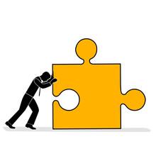 Businessman Pushes A Puzzle. Success Concept. Everyone Does His Job. Vector Illustration.
