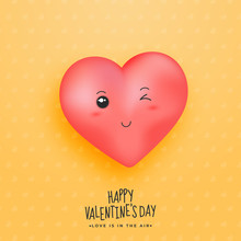 Pink Winking Heart On Yellow Seamless Heart Background For Happy Valentine's Day, Love Is In The Air.