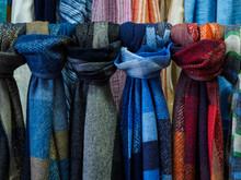 Wool Scarves Hang In The Shop ...