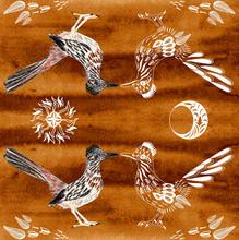 Road Runner. Greater Roadrunner. Geococcyx Californianus. Bird Illustration. Spirit Animal. Sun, Moon, Leaves