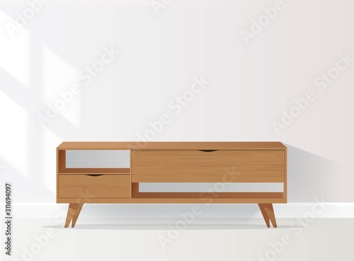 Wooden Sideboard Isolated on White Background Tablou Canvas