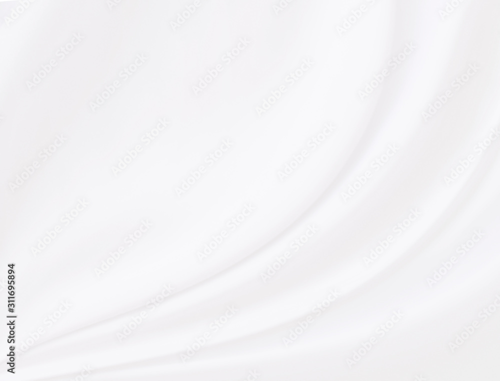 Background of white cloth with soft waves.