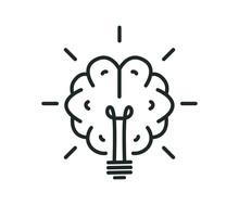 Brain Light Bulb Icon Vector Eps
