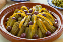 Moroccan Meal With Cardoon, Olives And Lemon