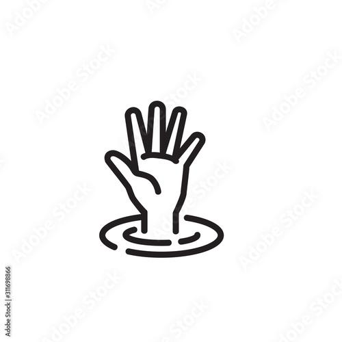 Hand sinking in water thin line icon Fototapeta