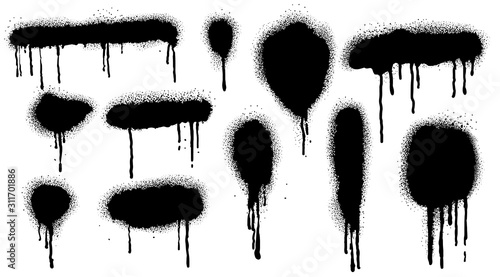 Obraz Spray Paint Vector Elements isolated on White Background, Lines and Drips Black ink splatters, Ink blots set, Street style. - fototapety do salonu