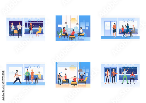 Fotografija Set of commuters sitting and standing in subway train