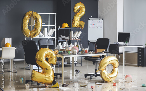Interior of office after New Year party Canvas Print
