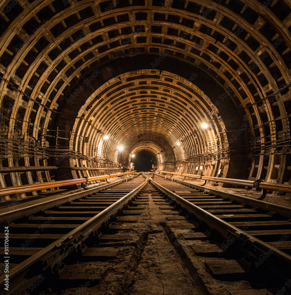 Fototapeta Technical subway tunnel underground photo