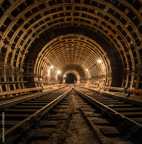 Fototapeta Technical subway tunnel underground photo