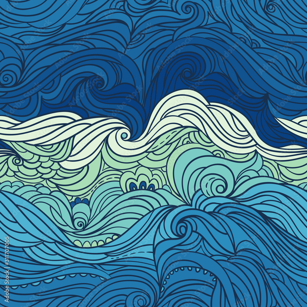Fototapeta Seamless waves pattern. Abstract water background with curly hand-drawn lines. Blue tide vector backdrop. Sea and ocean theme. Eps 8