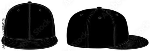 Obraz Baseball cap template vector illustration / black - fototapety do salonu