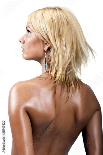 Fotografía  Sexy Blonde Female Model Naked in Front of White Background