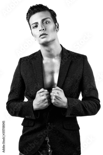 Young Androgen Male Model is Posing Against White Background Wallpaper Mural