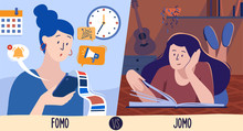 Vector Illustration Of Fomo Vs Jomo, Two Conditions In Which A Person Can Reside