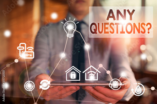 Handwriting text writing Any Questions Question Tablou Canvas