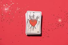 Tarot Card Three Of Swords Top View