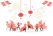 Concept Of Chinese New Year Celebration With Tiny People Character Celebrate And Play Lion Dance, Flat Vector Illustration For Web, Landing Page, Ui, Banner, Editorial, Mobile App And Flyer