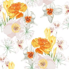 Naklejka Do kuchni Floral Seamless Pattern with narcissus, Chamomile (Daisy), spring flowers and leaves. Blooming orange Flowers on white Background.