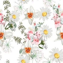 Fototapeta Do jadalni Floral Seamless Pattern with narcissus, Chamomile (Daisy), spring flowers and leaves. Blooming Flowers on white Background.