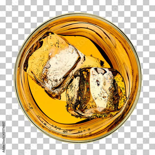 Whiskey or whisky in rocks glass from top view isolated on checkered background Canvas Print