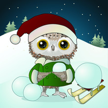 Owl Boy Dressed In A Green Jacket And Red Hat Of Santa Claus Sculpts A Snowman On A Background Of A Winter Landscape With Christmas Trees And Sled, Vector Illustration