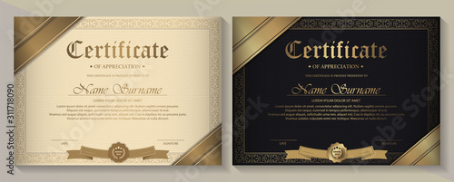 Certificate of achievement template in vector with applied Thai line in yellow g Canvas Print