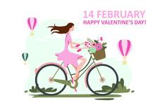 February 14, Valentines Day, Girl On A Bike