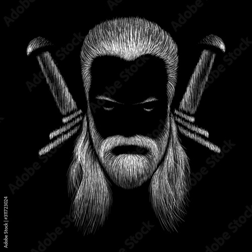 This is a vector drawing of a man with white or gray long hair Wallpaper Mural