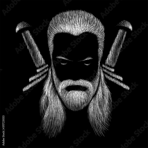 This is a vector drawing of a man with white or gray long hair Canvas Print