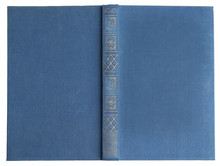 Open Old Book With Vintage Blue Cover Isolated On White, Top View