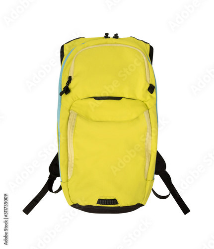 Obraz Front view of yellow backpack isolated on white background - fototapety do salonu