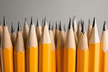Sharp Graphite Pencils On Grey...