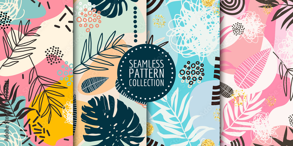 Floral seamless pattern collection. Vector design for paper, fabric, interior decor and cover <span>plik: #311736611 | autor: irinabogomolova</span>