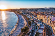 City Of Nice At Sunset On The ...