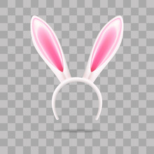 Easter Bunny Ears, Mask For The Holiday, Decoration On The Head, Vector Illustration.