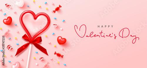 Obraz na płótnie Happy Valentines Day festive banner