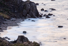 The Pacific Ocean Washes Against The Rocky Coastline Of Northern California In Sonoma. This Beautiful, Wild Region, North Of San Francisco, Is Often Covered By A Thick Marine Layer Of Mist.