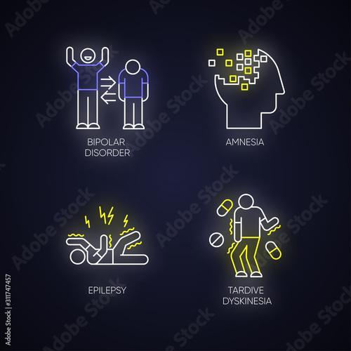 Fotografie, Tablou  Mental disorder neon light icons set