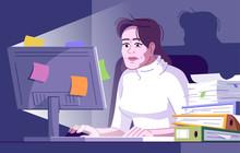 Workaholic Woman Flat Vector I...