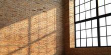 Loft Style Brick Interior With Windows