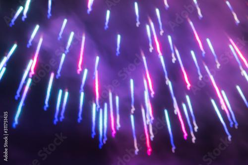 Abstract Sparkling Magenta Red, Phantom Blue and Ultra Violet Golden Rain Firewo Wallpaper Mural